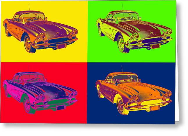 Old Auto Greeting Cards - 1962 Chevrolet Corvette Pop Art Greeting Card by Keith Webber Jr