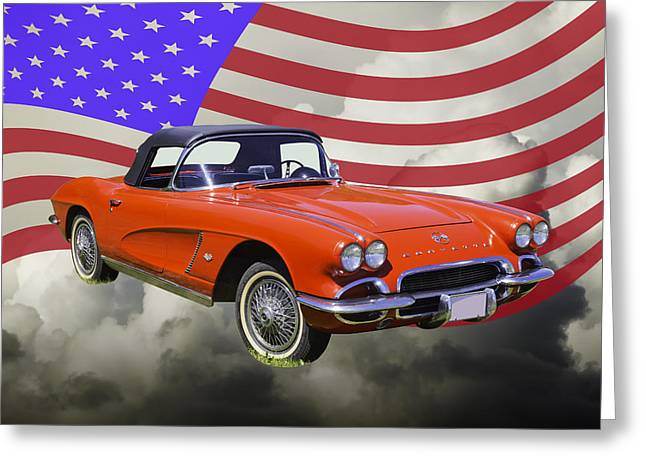 Antique Digital Art Greeting Cards - 1962 Chevrolet Corvette With United States Flag Greeting Card by Keith Webber Jr