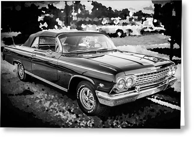 Detroit Legends Greeting Cards - 1962 Chevrolet Impala SS BW Greeting Card by Rich Franco