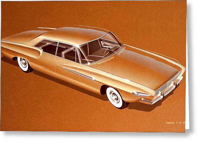 Automotive History Greeting Cards - 1962 DESOTO  vintage styling design concept rendering sketch Greeting Card by John Samsen