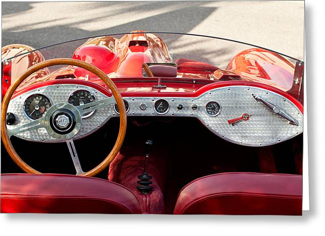 Supercharged Greeting Cards - 1962 Devin-MGA Supercharged Roadster Greeting Card by Jill Reger