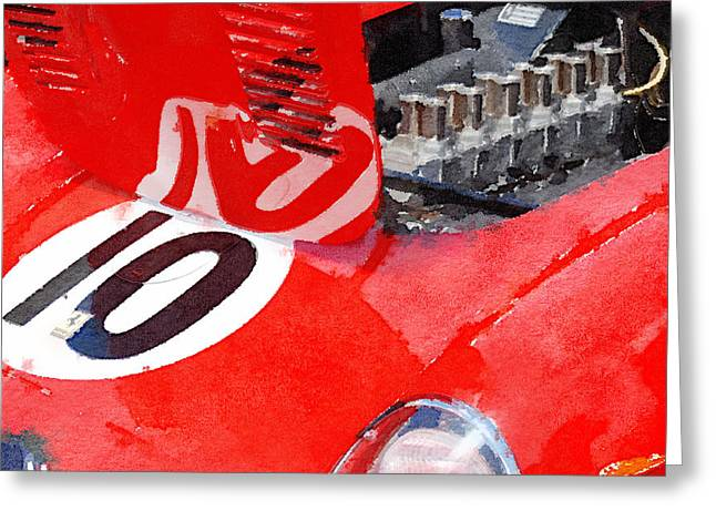 Ferrari Gto Classic Car Greeting Cards - 1962 Ferrari 250 GTO Engine Watercolor Greeting Card by Naxart Studio