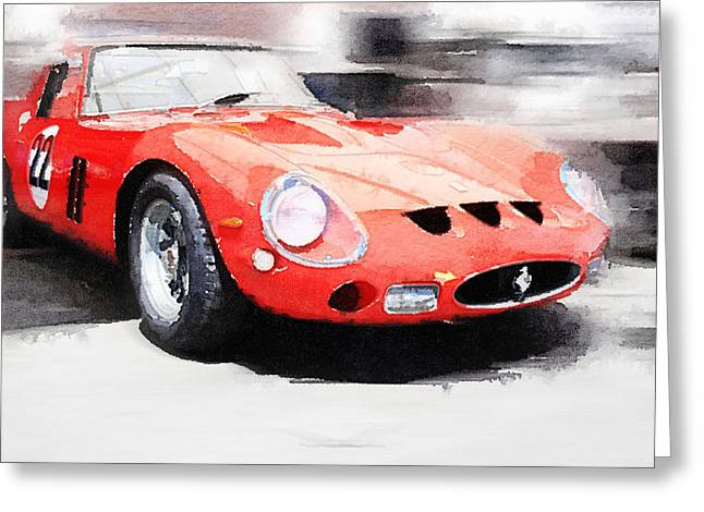 Ferrari Gto Classic Car Greeting Cards - 1962 Ferrari 250 GTO Watercolor Greeting Card by Naxart Studio