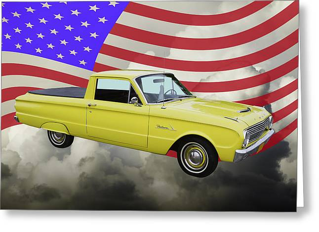 Red Falcon Greeting Cards - 1962 Ford Falcon Pickup Truck and American Flag Greeting Card by Keith Webber Jr