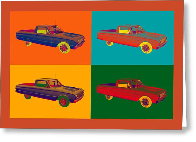 American Automobiles Greeting Cards - 1962 Ford Falcon Pickup Truck Pop Art Greeting Card by Keith Webber Jr