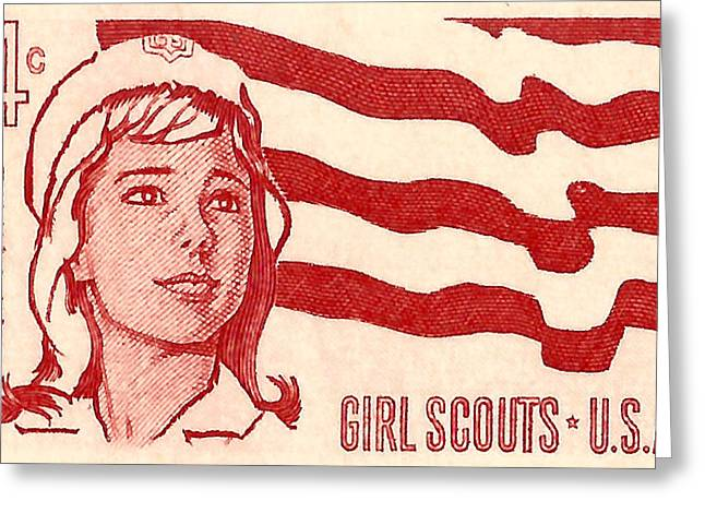 Old Stamps Greeting Cards - 1962 Girl Scouts of America Postage Stamp Greeting Card by David Patterson