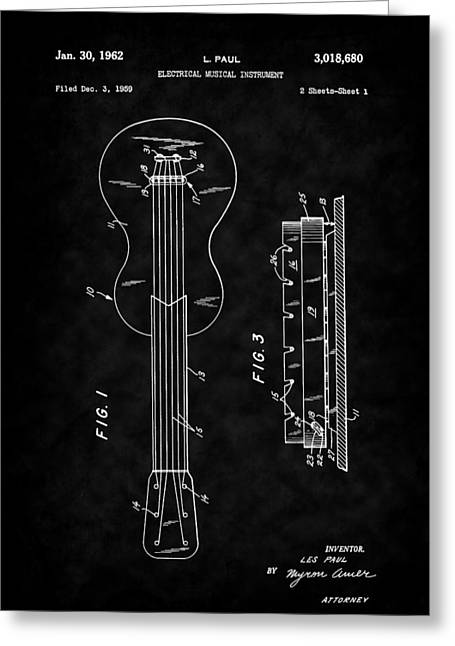 Historical Images Drawings Greeting Cards - Guitar - Les Paul - 1962 Les Paul Guitar Patent Art Greeting Card by Barry Jones