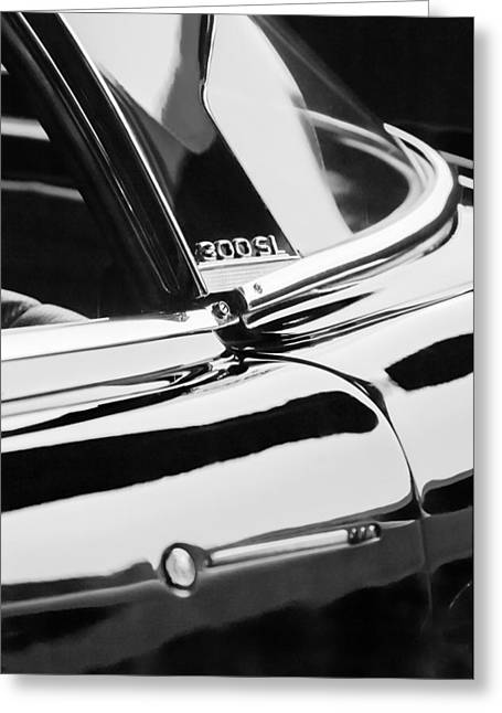 1962 Mercedes-benz 300sl Roadster Emblem -0663bw Greeting Card by Jill Reger