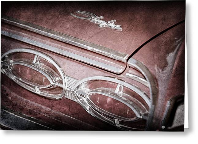 Starfire Photographs Greeting Cards - 1962 Oldsmobile Starfire Hardtop Taillight Emblem -1039ac Greeting Card by Jill Reger