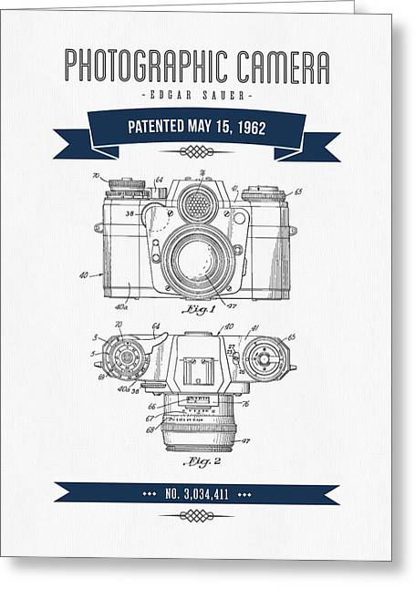 Old Camera Greeting Cards - 1962 Photographic Camera Patent Drawing - Retro Navy Blue Greeting Card by Aged Pixel