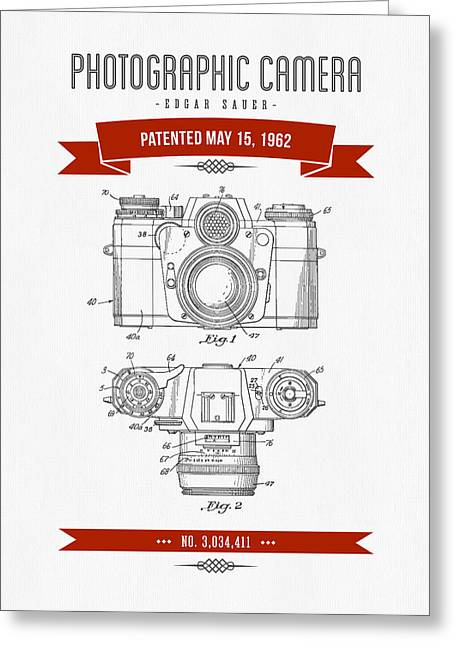 Camera Greeting Cards - 1962 Photographic Camera Patent Drawing - Retro Red Greeting Card by Aged Pixel