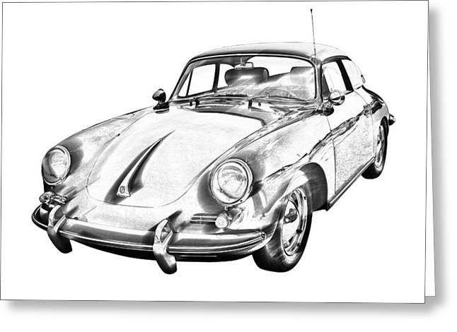 Porsche 356 Coupe Front Greeting Cards - 1962  Porsche 356 E Illustration Greeting Card by Keith Webber Jr
