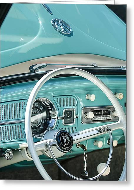 Vw Beetle Greeting Cards - 1962 Volkswagen VW Beetle Cabriolet Steering Wheel Greeting Card by Jill Reger