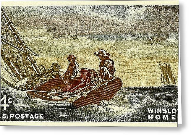 Old Stamps Greeting Cards - 1962 Winslow Homer Postage Stamp Greeting Card by David Patterson
