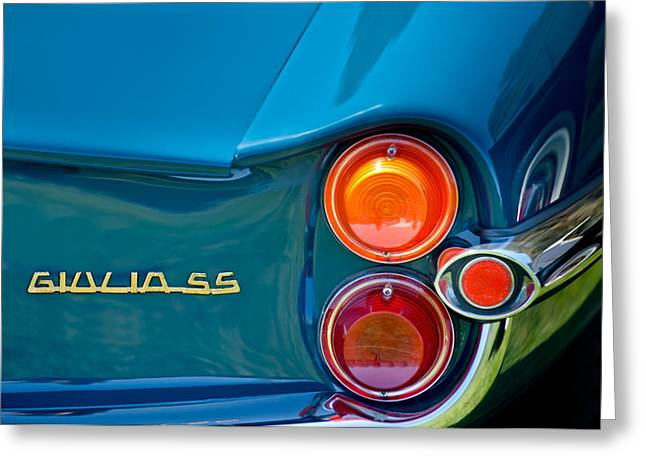 1963 Sprint Greeting Cards - 1963 Alfa Romeo Giulia Sprint Special SS Taillight Emblem Greeting Card by Jill Reger
