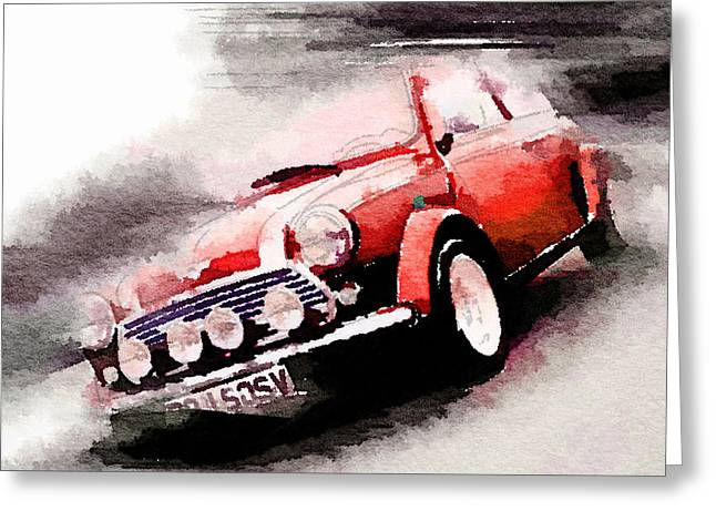 Old Paintings Greeting Cards - 1963 Austin Mini Cooper Watercolor Greeting Card by Naxart Studio