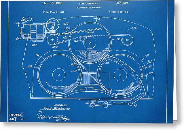 Phonograph Greeting Cards - 1963 Automatic Phonograph Jukebox Patent Artwork Blueprint Greeting Card by Nikki Marie Smith