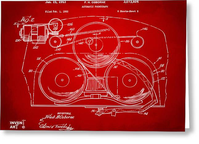 Phonograph Greeting Cards - 1963 Automatic Phonograph Jukebox Patent Artwork Red Greeting Card by Nikki Marie Smith