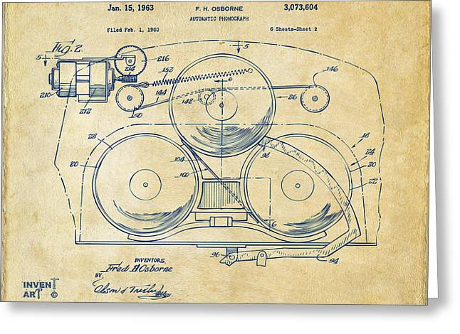 Phonograph Greeting Cards - 1963 Automatic Phonograph Jukebox Patent Artwork Vintage Greeting Card by Nikki Marie Smith
