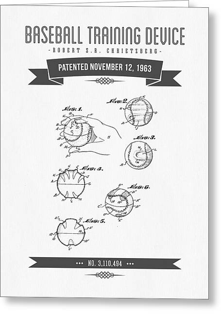 Mlb Art Greeting Cards - 1963 Baseball Training Device Patent Drawing Greeting Card by Aged Pixel