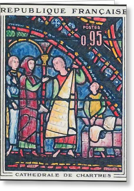 Eure Greeting Cards - 1963 Cathedral Chartres Greeting Card by Lanjee Chee