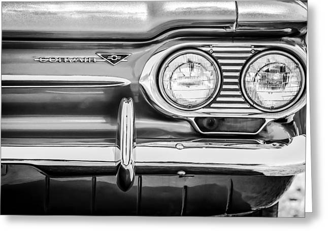 1963 Greeting Cards - 1963 Chevrolet Corvair Monza Spyder Headlight Emblem -0594bw Greeting Card by Jill Reger