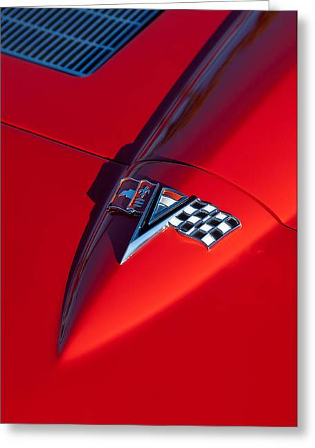 Car Hood Ornament Photographs Greeting Cards - 1963 Chevrolet Corvette Hood Emblem Greeting Card by Jill Reger