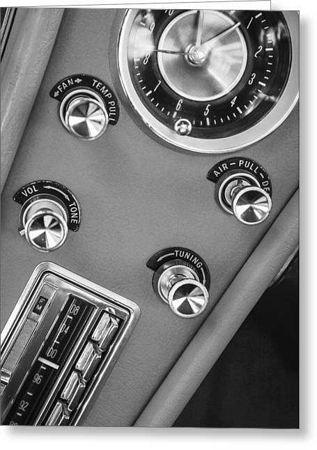 Dash Greeting Cards - 1963 Chevrolet Corvette Split Window Dash -334bw Greeting Card by Jill Reger