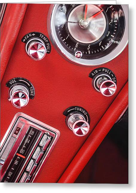 Console Greeting Cards - 1963 Chevrolet Corvette Split Window Dash -334c Greeting Card by Jill Reger