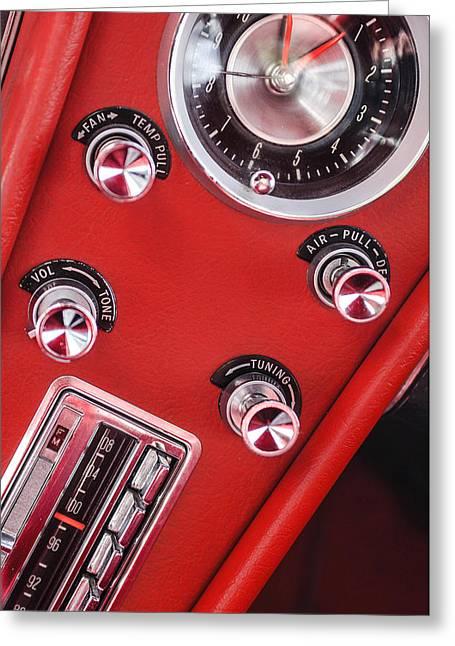 Center Part Greeting Cards - 1963 Chevrolet Corvette Split Window Dash -334c Greeting Card by Jill Reger