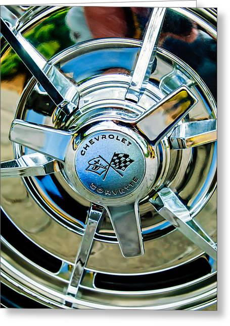 1963 Greeting Cards - 1963 Chevrolet Corvette Split Window Wheel Emblem -478c Greeting Card by Jill Reger