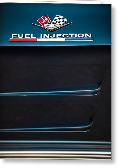 Injection Greeting Cards - 1963 Chevrolet Corvette Sting Ray Fuel-Injection Split Window Coupe Emblem Greeting Card by Jill Reger