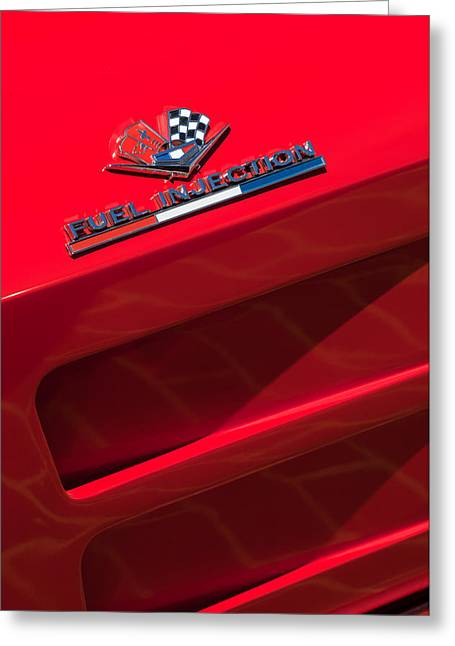 Injection Greeting Cards - 1963 Chevrolet Corvette Sting Ray Split-Window Race Car Fuel Injection Emblem Greeting Card by Jill Reger