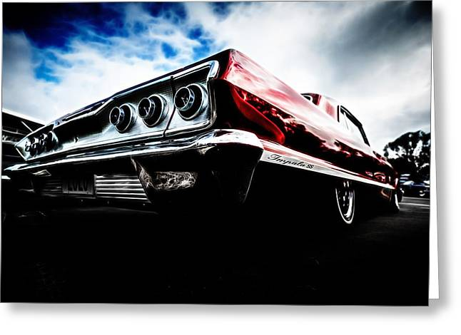 Red Chev Greeting Cards - 1963 Chevrolet Impala SS Greeting Card by motography aka Phil Clark