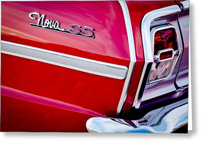 1963 Greeting Cards - 1963 Chevrolet Nova Convertible Taillight Emblem Greeting Card by Jill Reger