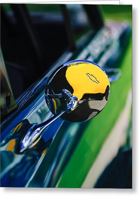 Rear View Mirror Greeting Cards - 1963 Chevrolet Nova Rear View Mirror Emblem Greeting Card by Jill Reger