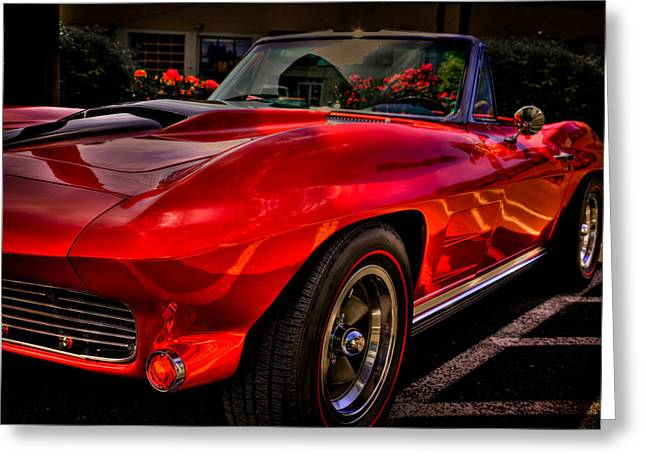 Red Street Rod Greeting Cards - 1963 Chevy Corvette Greeting Card by David Patterson