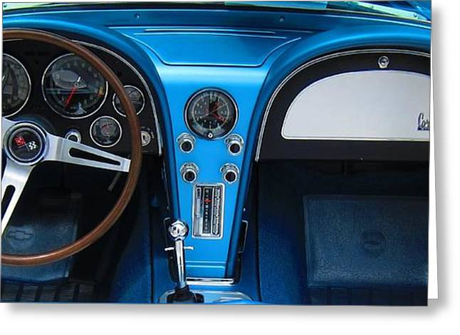 Steering Greeting Cards - 1963 Corvette Dash Greeting Card by Sven Migot