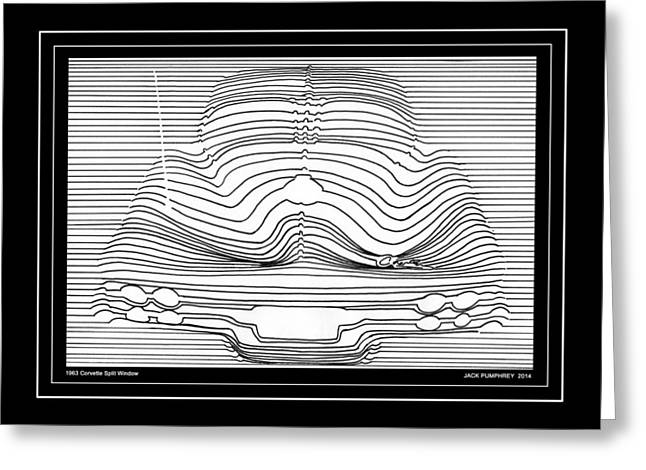 Split Drawings Greeting Cards - 1963 Corvette Split Window Abstract Greeting Card by Jack Pumphrey