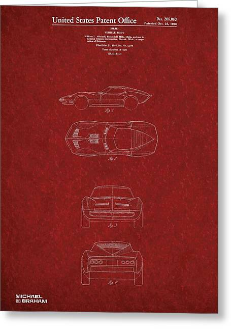 Important Mixed Media Greeting Cards - 1963 Corvette Stingray  Greeting Card by Michael Braham