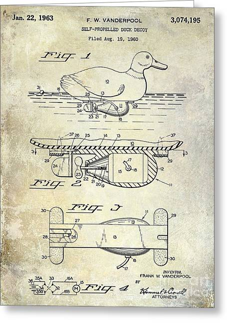 Hunting Greeting Cards - 1963 Duck Decoy Patent Drawing Greeting Card by Jon Neidert