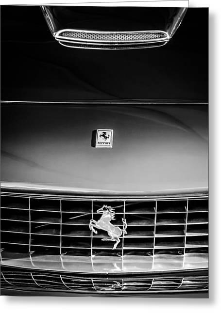 Ferrari 250gt Greeting Cards - 1963 Ferrari 250 GT Lusso Grille Emblem -0824bw Greeting Card by Jill Reger
