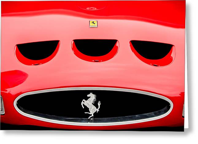 1963 Greeting Cards - 1963 Ferrari 250 Gto Grille Emblem -1753c Greeting Card by Jill Reger