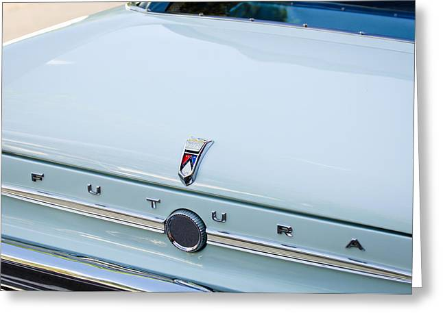 1963 Ford Greeting Cards - 1963 Ford Falcon Futura Convertible  Rear Emblem Greeting Card by Jill Reger