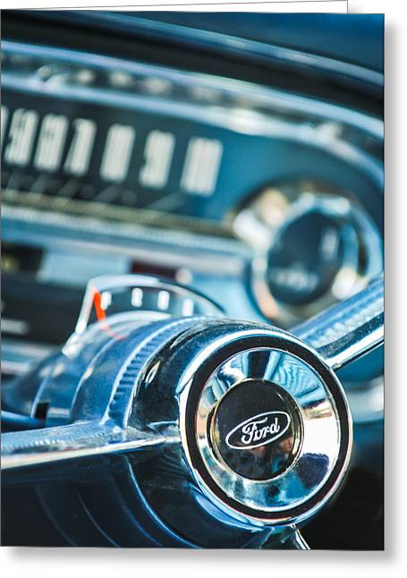 Steering Greeting Cards - 1963 Ford Falcon Futura Convertible  Steering Wheel Emblem Greeting Card by Jill Reger