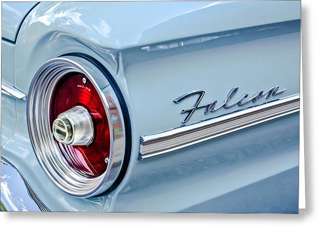 1963 Ford Falcon Futura Convertible Taillight Emblem Greeting Card by Jill Reger