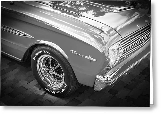 1963 Ford Sprint Greeting Cards - 1963 Ford Falcon Sprint Convertible  BW Greeting Card by Rich Franco