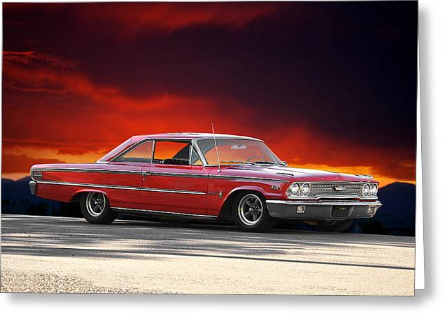 Rally Greeting Cards - 1963 Ford Galaxie 427 Greeting Card by Dave Koontz