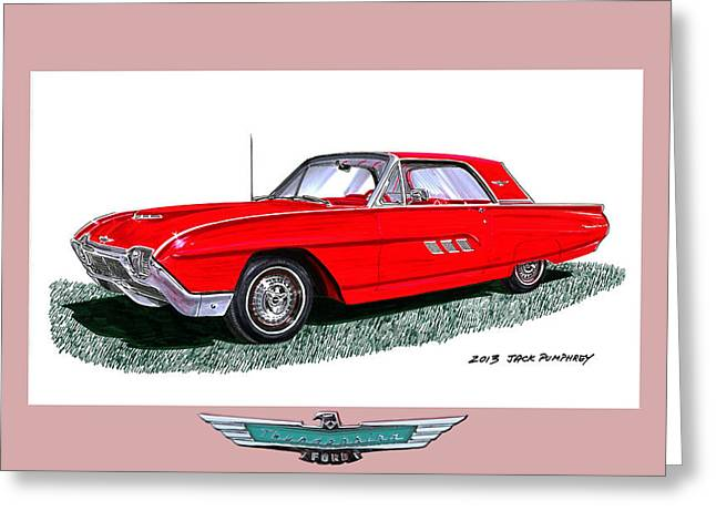 Many Mixed Media Greeting Cards - 1963 Ford Thunderbird Greeting Card by Jack Pumphrey