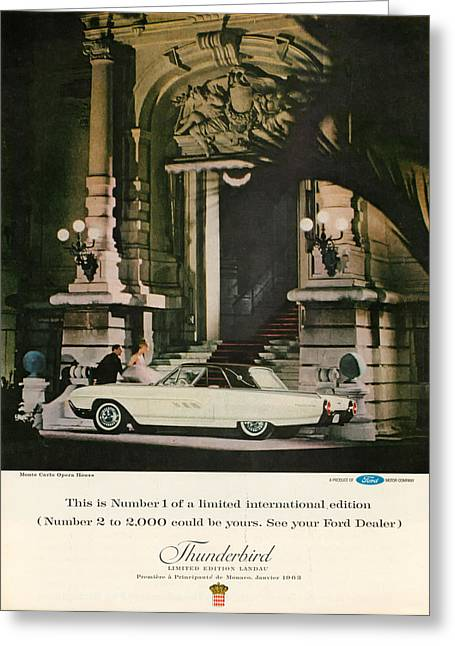 Rally Greeting Cards - 1963 Ford Thunderbird Greeting Card by Nomad Art And  Design